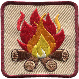 This square badge is part one of a three part collection that displays a growing campfire. A blazing yellow, orange, and red flame burns on top of logs in this burgundy bordered patch.