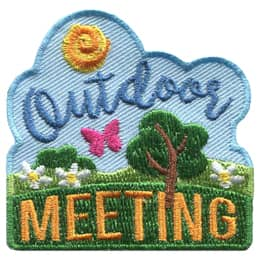 This patch shows a warm sun in clear skies with hills, grass, flowers, a bush, a tree, and a butterfly below. The text \'Outdoor\' is in the sky and \'Meeting\' is in the hills.