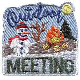 A snowman sits on a winter covered hillside next to a roaring campfire. The text \'Outdoor\' is written in the blue sky above the snowman and \'Meeting\' is below him.