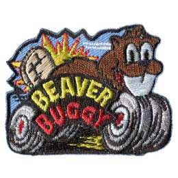 Beaver, Buggy, Beaver Buggie, Wheels, Patch, Embroidered Patch, Merit Badge, Badge, Emblem, Iron On, Iron-On, Crest, Lapel Pin, Insignia, Girl Scouts, Boy Scouts, Girl Guides