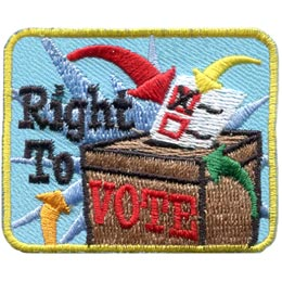 A ballot with one box crossed off is being dropped into a ballot box. The words \'Right To Vote\' are embroidered on this patch.