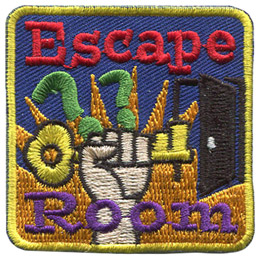 A hand holds a key triumphantly in the air with an orange starburst behind it. Above the key are two question marks and to the right sits an open door. The word 'Escape' sits at the top of the patch and 'Room' rests at the bottom.
