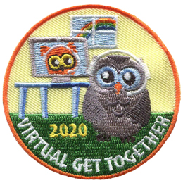 A grey owl wears a headset with a mic and speaks to a brown owl on the computer monitor. The owl is in its home, complete with a table and a window with a rainbow on it. The words Virtual Get Together runs along the bottom of this round crest.