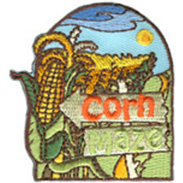 Corn, Maze, Patch, Embroidered Patch, Merit Badge, Badge, Emblem, Iron On, Iron-On, Crest, Lapel Pin, Insignia, Girl Scouts, Boy Scouts, Girl Guides