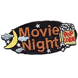 A black oval background showcases the big orange words ''Movie Night.'' Off to the right rests a overflowing bag of popped popcorn and to the left is a crescent moon surrounded by stars and clouds.