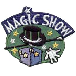 Magic Show, Make Believe, Magician, Rabbit, Hat, Magic Wand, Wand, Merit Badge, Patch, Crest, Girl Scouts, Girl Guides, Boy Scouts