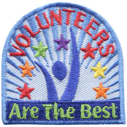 Volunteer, Best, Star, Celebrate, Patch, Embroidered Patch, Merit Badge, Badge, Emblem, Iron On, Iron-On, Crest, Lapel Pin, Insignia, Girl Scouts, Boy Scouts, Girl Guides