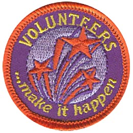 Volunteer, Award, Star, Sparkle, Thanks, Thank You, Patch, Embroidered Patch, Merit Badge, Iron On, Iron-On, Crest, Girl Scouts, Boy Scou