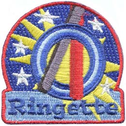Ringette, Ring, Star, Stick, Ice, Patch, Embroidered Patch, Merit Badge, Badge, Emblem, Iron On, Iron-On, Crest, Lapel Pin, Insignia, Girl Scouts, Boy Scouts, Girl Guides