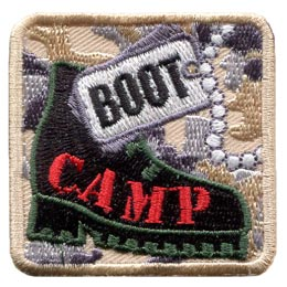 Boot, Camp, Fitness, Training, Army, Navy, Cadets, Camouflage, Patch, Embroidered Patch, Merit Badge, Badge, Emblem, Iron On, Iron-On, Crest, Lapel Pin, Insignia, Girl Scouts, Boy Scouts, Girl Guides