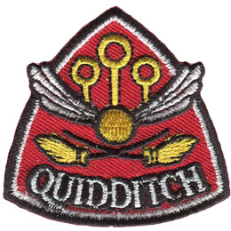 A gold ball with wings flys over two crossed brooms. In the background three individual rings on poles stand as goals. The word 'Quidditch' is embroidered at the bottom of this inverted shield patch.