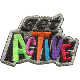 This metallic bordered crest has the word \'Get\' stacked on top of \'Active\'.