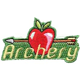 An arrow is lodged horizontally into a crisp apple, piercing right through. The word ''Archery'' is embroidered below.