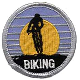 Biking, Bicycle, Sun, Ride, Bike, Pedal, Sport, Girl, Boy, Patch, Merit Badge, Crest, Scouts, Guides