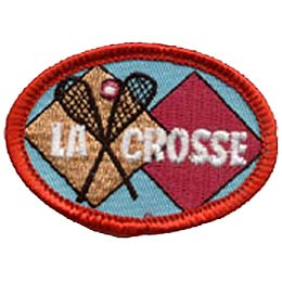 Lacrosse, Sports, Ball, Racket, Soccer, Patch, Embroidered Patch, Merit Badge, Badge, Emblem, Iron On, Iron-On, Crest, Lapel Pin, Insignia, Girl Scout