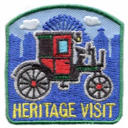 Heritage Visit, Heritage, Visit, Coach, Waggon, Car, Culture,  Patch, Embroidered Patch, Merit Badge, Badge, Emblem, Iron On, Iron-On, Crest, Lapel Pin, Insignia, Girl Scouts, Boy Scouts, Girl Guides