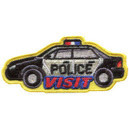 This patch is a black and white police car with the text on the door that says 'Police' with 'Visit' just underneath.