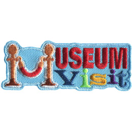 This rectangular patch has the words 'Museum Visit' where 'Museum' sits on top of 'Visit'. The first 'M' in 'Museum' is formed using two Stanchion (brass finished metal poles with a red velvet rope dipping down in between).