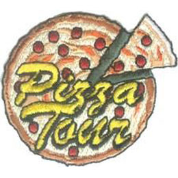 Pizza, Tour, Slice, Parlor, Parlour, Patch, Embroidered Patch, Merit Badge, Badge, Emblem, Iron On, Iron-On, Crest, Lapel Pin, Insignia, Girl Scouts, Boy Scouts, Girl Guides