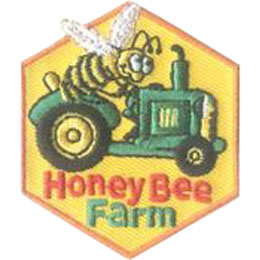 Honey, Bee, Farm, Tractor, Patch, Embroidered Patch, Merit Badge, Badge, Emblem, Iron On, Iron-On, Crest, Lapel Pin, Insignia, Girl Scouts, Boy Scouts, Girl Guides
