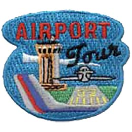 Airport Tour, Airplane, Jet, Helicopter, Runway, Patch, Embroidered Patch, Merit Badge, Crest, Girl Scouts, Boy Scouts, Girl Guides