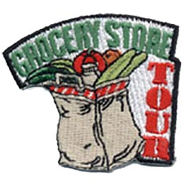 Grocery Store Tour, Groceries, Food, Bag, Patch, Embroidered Patch, Merit Badge, Crest, Girl Scouts, Boy Scouts, Girl Guides