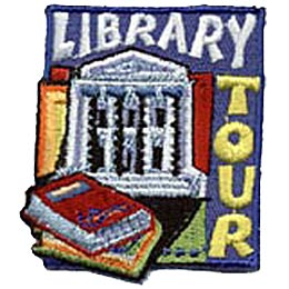 This square patch has a white library building and two books depicted on it. The word ''Library'' is written at the top and ''Tour'' is embroidered down the right hand side.