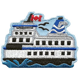 This crest displays the side profile of a multi-level ferry as it powers through the water. The ferry flies a Canadian Flag.