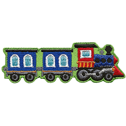 A train engine pulls two train cars behind it in this rectangular badge.