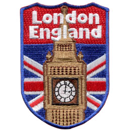 London, England, Big Ben, Tourism, Tourist, Flag, Country, Patch, Embroidered Patch, Merit Badge, Iron On, Iron-On, Crest, Girl Scouts