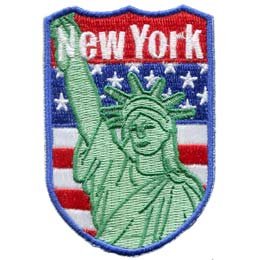 New York, Flag, USA, United States, Patch, Embroidered Patch, Merit Badge, Iron On, Iron-On, Crest, Girl Scouts, New York, New, York, Statue of Liberty, Liberty