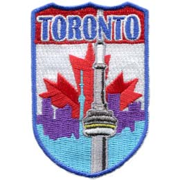Canada, Toronto, CN, CN Tower, Flag, Province, Patch, Embroidered Patch, Merit Badge, Iron On, Iron-On, Crest, Girl Scouts