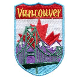 Canada, Vancouver, Lions Gate Bridge, Bridge, Flag, Province, Patch, Embroidered Patch, Merit Badge, Iron On, Iron-On, Crest, Girl Scouts