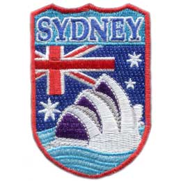Sydney, Australia, Opera House, Opera, Sydney Opera House, Flag, City, Embroidered Patch, Merit Badge, Iron On, Iron-On, Crest, Girl Scouts