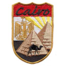 Cairo, Eagle, Pyramid, Egypt, Camel, Sun, Ray, Sand, Flag, City, Patch, Embroidered Patch, Merit Badge, Iron On, Iron-On, Crest, Girl Scouts, Boy Scouts