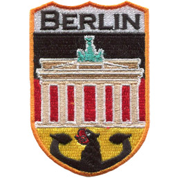 This tall, shield shaped patch has the word 'Berlin' embroidered at the top. Underneath it lies the Brandenburg Gate and below the gate is the German black eagle.