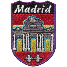 This shield shaped patch has the city name 'Madrid' at the top and the beautiful Rueta de Alcalá below.