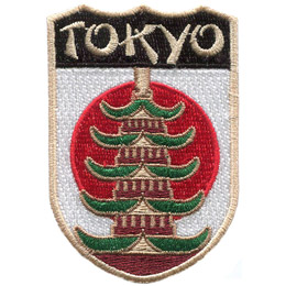 This emblem has the name 'Tokyo' at the top on a black background. Just below it is the white background and red dot of Japan's flag. Front and center, laid over the Japanese flag, is a Pagoda (specifically the one from Asakusa Temple).