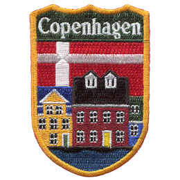 This emblem has the name \'Copenhagen\' at the top on a green background. Just below it is the red and white of Copenhagen\'s flag. Front and center is the colourful 17 century buildings of Nyhavn.