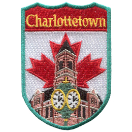 This shield shaped crest has the text Charlottetown at the top. The iconic clock in front of Charlottetown city hall is displayed with the Canada flag in the background.