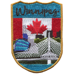 This emblem has the name \'Winnipeg\' at the top on a teal background. Just below it, is Canada\'s red and white flag taking up the center bar of this crest. In the foreground is the Esplanade Riel, a famous bridge in Winnipeg.