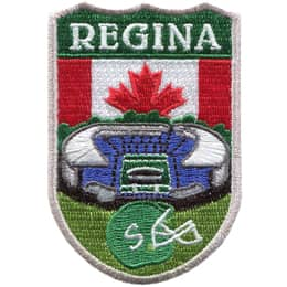 This shield shaped crest (from top down) has the name \'Regina\', then the Canadian Flag, then tree tops, then a sports stadium, and finally a football helmet on a field of green.