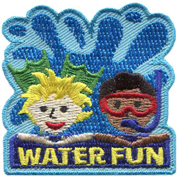 Two kids look out from this laser cut patch, their arms resting on the words 'Water Fun' as a giant wave rises up behind them. The child on the left is showing its flipper-covered feet behind it and the child on the right is wearing goggles and has a snorkel.