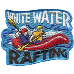 A red raft rocks in the choppy water as two riders paddle. The text 'White Water' is at the top of the crest and 'Rafting' is at the bottom.