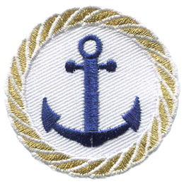 A two pronged, barbed nautical anchor is in the center of this circular crest. A braided rope made of gold thread is embroidered around the edge as a border.