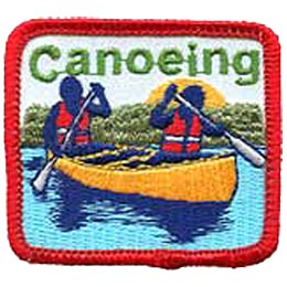 Canoeing, Canoe, Paddle, Water, Lake, River, Life Jacket, Jacket, Patch, Embroidered Patch, Merit Badge, Badge, Emblem, Iron On, Iron-On, Crest, Lapel
