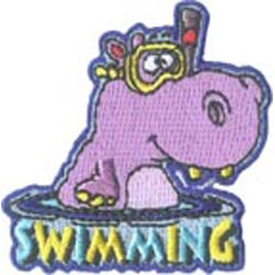 Swim, Swimming, Hippo, Water, Pool, Patch, Embroidered Patch, Merit Badge, Badge, Emblem, Iron On, Iron-On, Crest, Lapel Pin, Insignia, Girl Scouts, Boy Scouts, Girl Guides