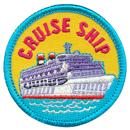 A large cruise ship sales on a blue sea. The text \'Cruise Ship\' is embroidered above the image of the ship.