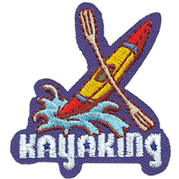 A yellow kayak with a painted red nose and tail leaps out of a breaking wave. A paddle straddles the middle. At the bottom of this crest is the word \'Kayaking\'.