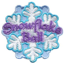 Snowflake, Ball, Snow, Patch, Embroidered Patch, Merit Badge, Badge, Emblem, Iron On, Iron-On, Crest, Lapel Pin, Insignia, Girl Scouts, Boy Scouts, Girl Guides